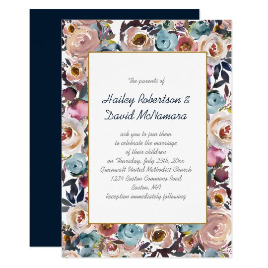 Navy Blue Dusk Blue Mauve Gold Wedding |