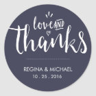 Navy Blue Elegant Script Wedding Thank You Sticker