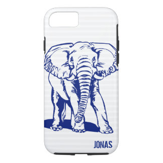 Navy Blue Elephant Line Drawing iPhone 8/7 Case