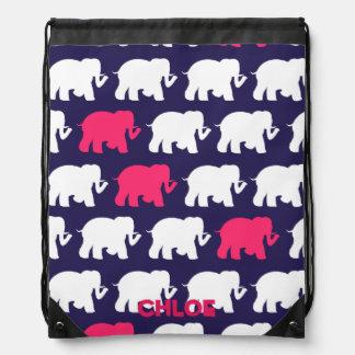 Navy blue elephants drawstring backpack