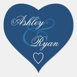 Navy Blue Envelope Seal Wedding Heart Sticker