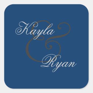 Navy Blue Envelope Seal Wedding Square Sticker