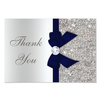 Navy Blue Faux Bow Silver Sequins Thank You 9 Cm X 13 Cm Invitation Card