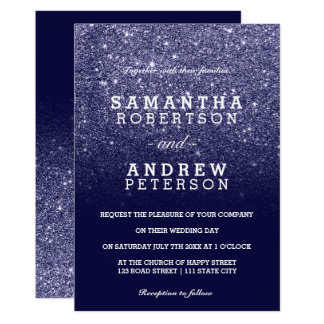 Navy blue faux glitter ombre chic wedding card