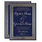 Navy blue faux gold elegant modern Wedding Card