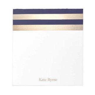 Navy Blue Faux Gold Foil Stripes Name Notepad