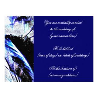 Navy Blue Feather Wedding Invitations