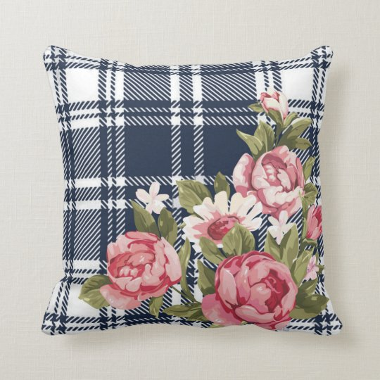 Navy Blue Flannel Plaid Rose Throw Cushion