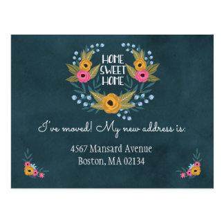 Navy Blue Floral Change of Address Postcard
