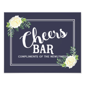 navy blue floral Ivory Rose wedding party Bar sign Art Photo