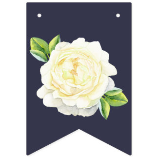 navy blue floral Ivory Rose wedding party BUNTING Bunting