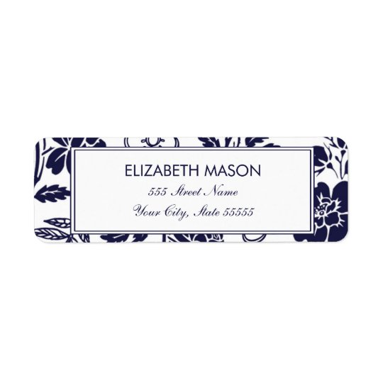 Navy Blue Floral Return Address Label