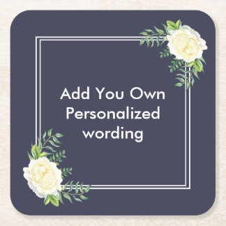 Navy blue floral style personalised coaster