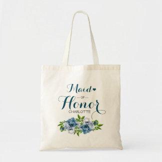Navy Blue Floral Tote Bag