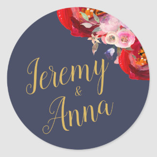 Navy Blue Floral Watercolor peonies Classic Round Sticker