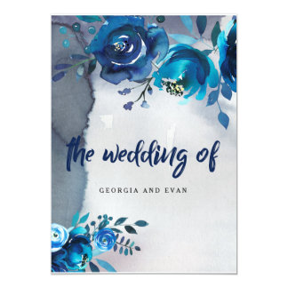 Navy Blue Floral Watercolor Wedding Invitations