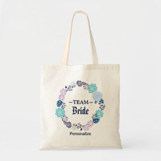 Navy Blue Floral Wedding Wreath Tote Bag