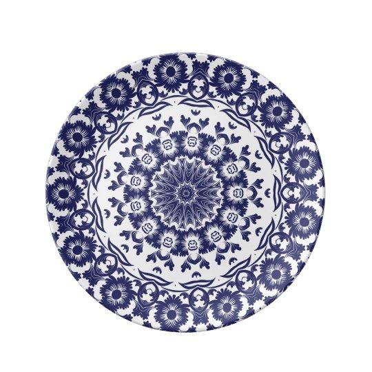 Navy Blue Flower BoHo Mandala Porcelain Plates