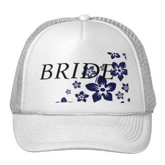 navy blue flowers cap