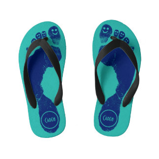 Navy Blue Footprints Smiley-Toes™ Cool Aqua Blue Flip Flops