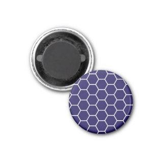 Navy Blue Geometric Honeycomb Hexagon Pattern 3 Cm Round Magnet