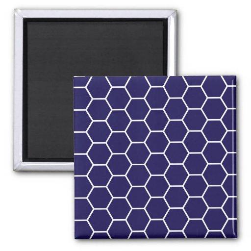 Navy Blue Geometric Honeycomb Hexagon Pattern Refrigerator Magnets