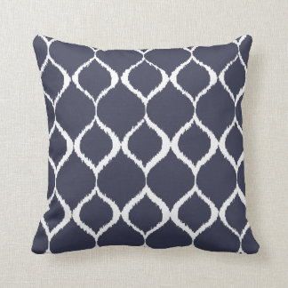 Navy Blue Geometric Ikat Tribal Print Pattern Cushion