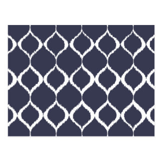 Navy Blue Geometric Ikat Tribal Print Pattern Postcard