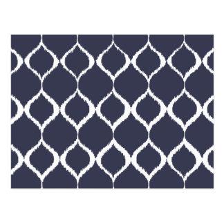 Navy Blue Geometric Ikat Tribal Print Pattern Postcard