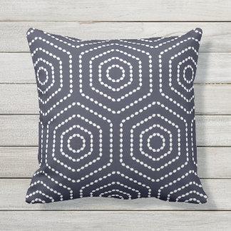 Navy Blue Geometric Pattern Outdoor Pillows