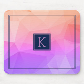 Navy Blue & Geometric Pattern Purple & Salmon Pink Mouse Pad