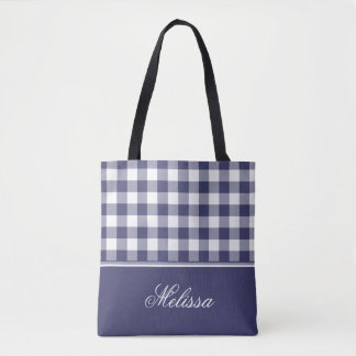 Navy Blue Gingham | Personalized Tote Bag