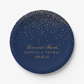 Navy Blue & Glam Gold Confetti Wedding 7 Inch Paper Plate