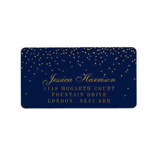 Navy Blue & Glam Gold Confetti Wedding Address Label