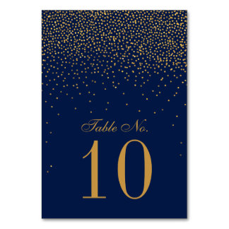 Navy Blue & Glam Gold Confetti Wedding Card