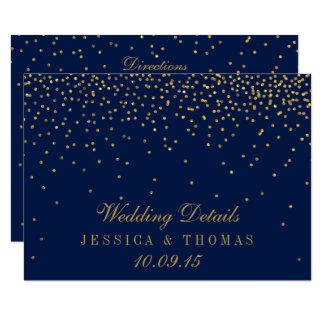 Navy Blue & Glam Gold Confetti Wedding Detail 11 Cm X 16 Cm Invitation Card