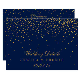 Navy Blue & Glam Gold Confetti Wedding Detail Card