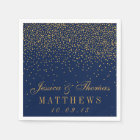 Navy Blue & Glam Gold Confetti Wedding Disposable Napkin