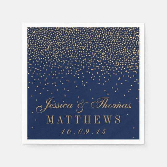Navy Blue & Glam Gold Confetti Wedding Disposable Napkin