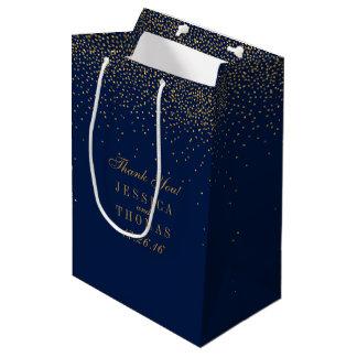 Navy Blue & Glam Gold Confetti Wedding Favor Medium Gift Bag