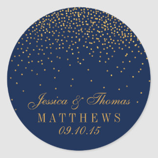 Navy Blue & Glam Gold Confetti Wedding Favor Round Sticker