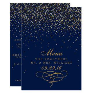Navy Blue & Glam Gold Confetti Wedding Menu 11 Cm X 16 Cm Invitation Card