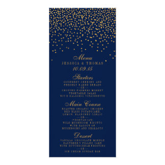 Navy Blue & Glam Gold Confetti Wedding Menu Rack Card Template