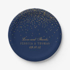 Navy Blue & Glam Gold Confetti Wedding Paper Plate