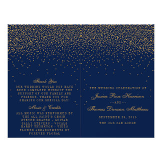 Navy Blue & Glam Gold Confetti Wedding Program Flyer