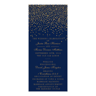 Navy Blue & Glam Gold Confetti Wedding Program Rack Card