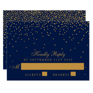 Navy Blue & Glam Gold Confetti Wedding RSVP Card