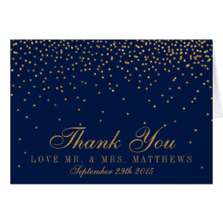 Navy Blue & Glam Gold Confetti Wedding Thank You Card