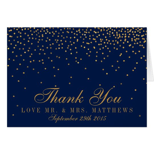 Navy Blue & Glam Gold Confetti Wedding Thank