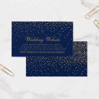 Navy Blue & Glam Gold Confetti Wedding Website Business Card